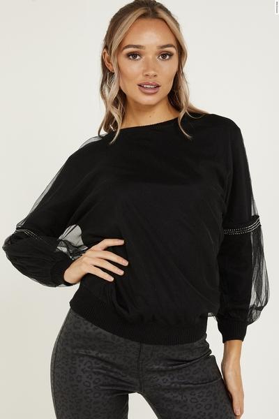 Black Diamante Knitted Mesh Sleeve Jumper
